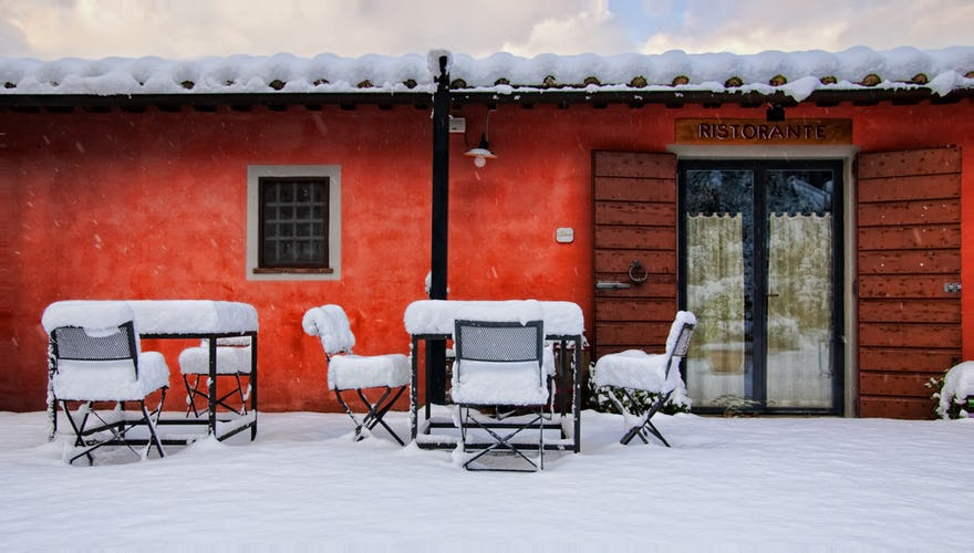 Montalbino, the snowy restaurant