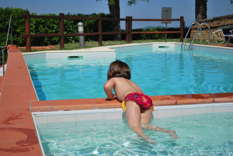 The smaller pool is at most 1 meter deep and it also has a separate more shallow area for the smallest kids