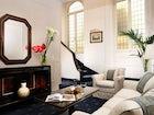 The relaxing living room area in Suite De Vinci at Hotel de la Ville