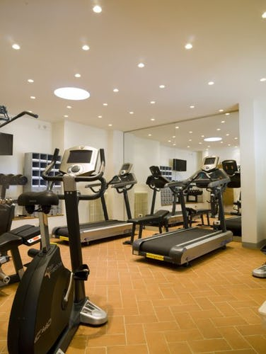 The fully equipped gym at Hotel le Fontanella is open to guests