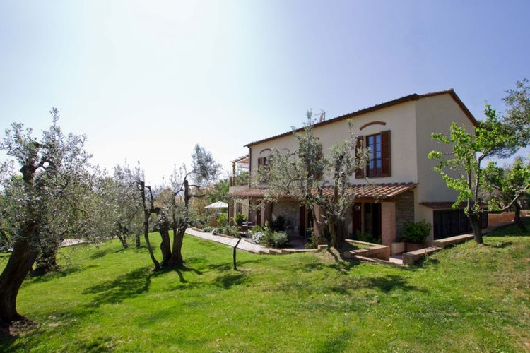 Characteristic rural home immersed in a huge park with olive trees