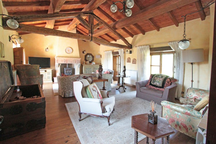 La Loggia Fiorita holiday villa rental and a spacious living room