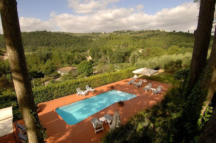 La vista mozzafiato dalla piscina panoramica, circondata dal parco