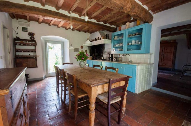 A warm and welcoming Tuscan kitchen at Montrogoli