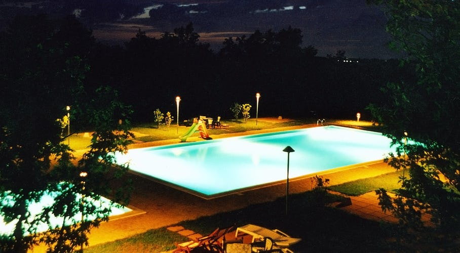 Pool at Night at Tenuta Moriano Chianti Tuscany