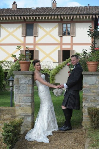 Bride and Groom at Villa Rossi Mattei